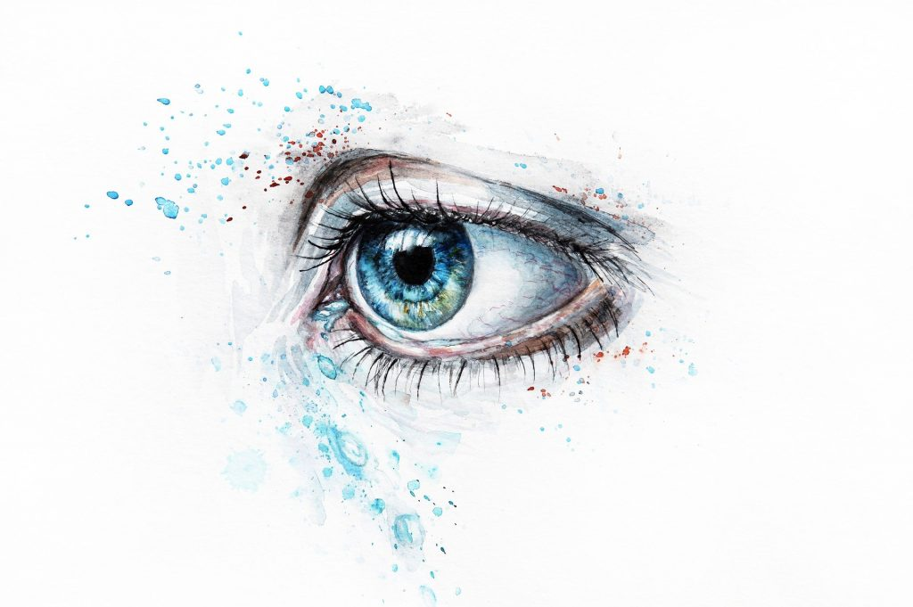 woman's blue eye in illustrative drawing style