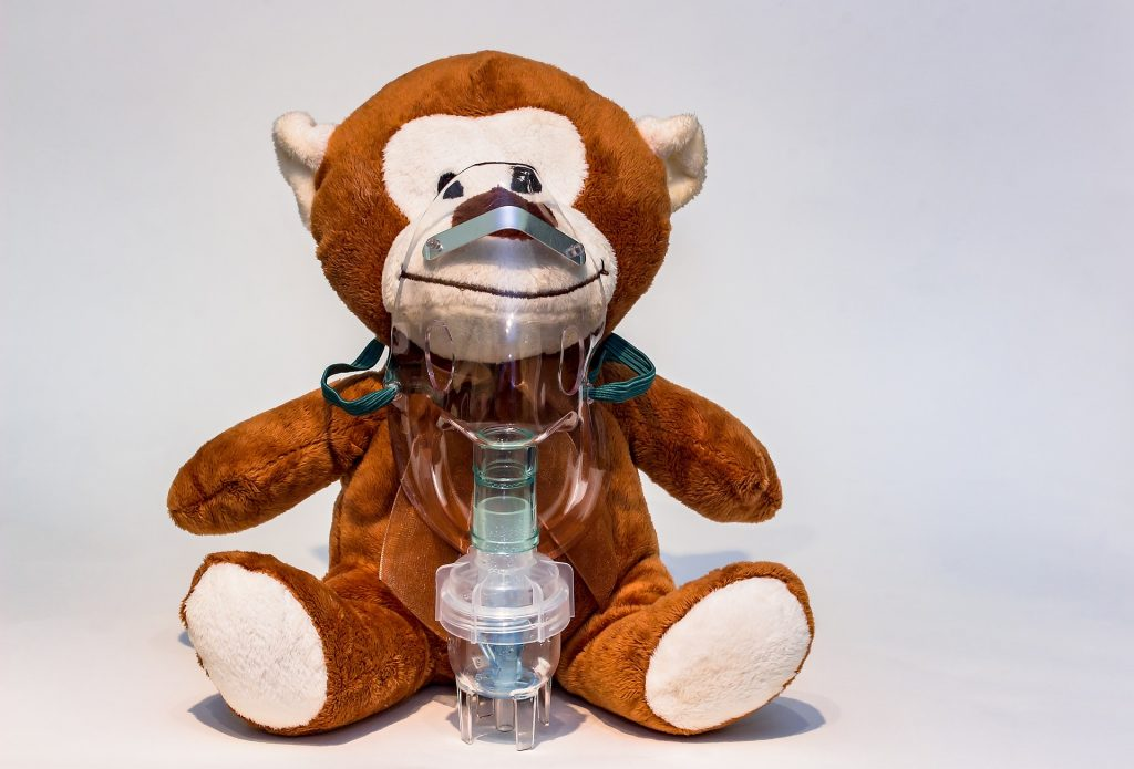 cuddly toy with breathing mask on to show needs help to breathe